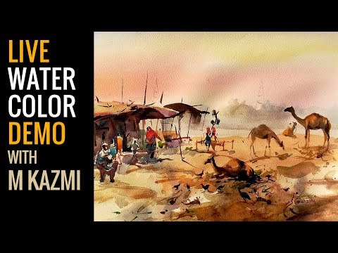 Plein air  painting demo -watercolor painting tutorial for beginners urdu hindi
