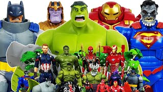 Hulk, Hulkbuster vs Thanos! Avengers Go~! Superman, Batman, Captain America, Iron Man, Spider-Man!