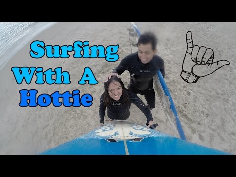 Learning To Surf In Santa Monica Beach