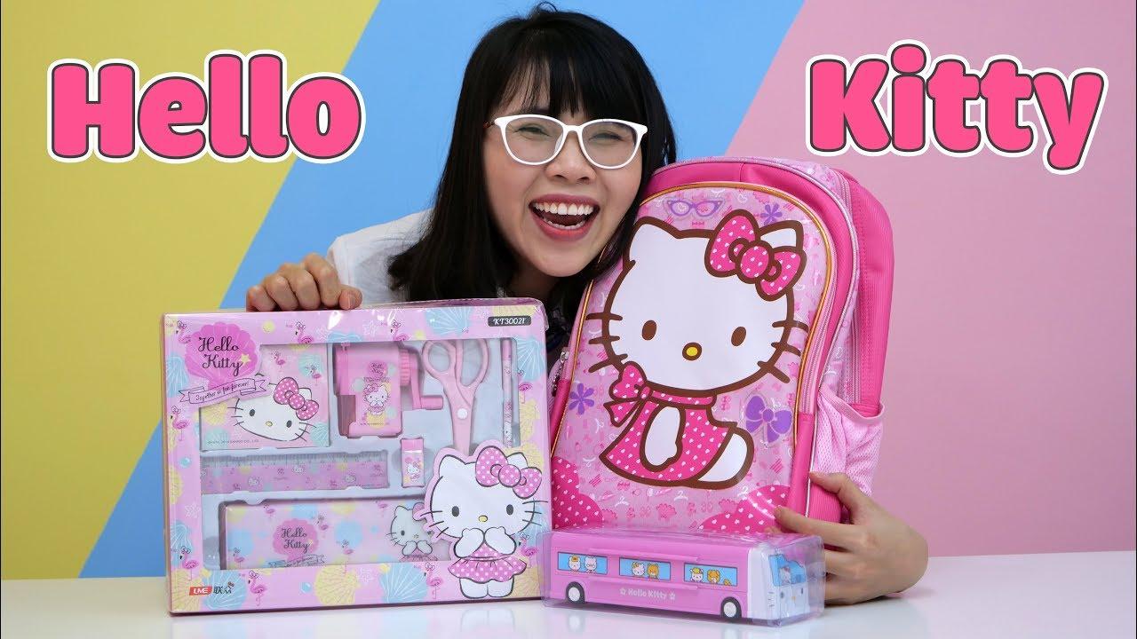 Mở Hộp Bộ Dụng Cụ Học Tập Hello Kitty Cực Đáng Yêu