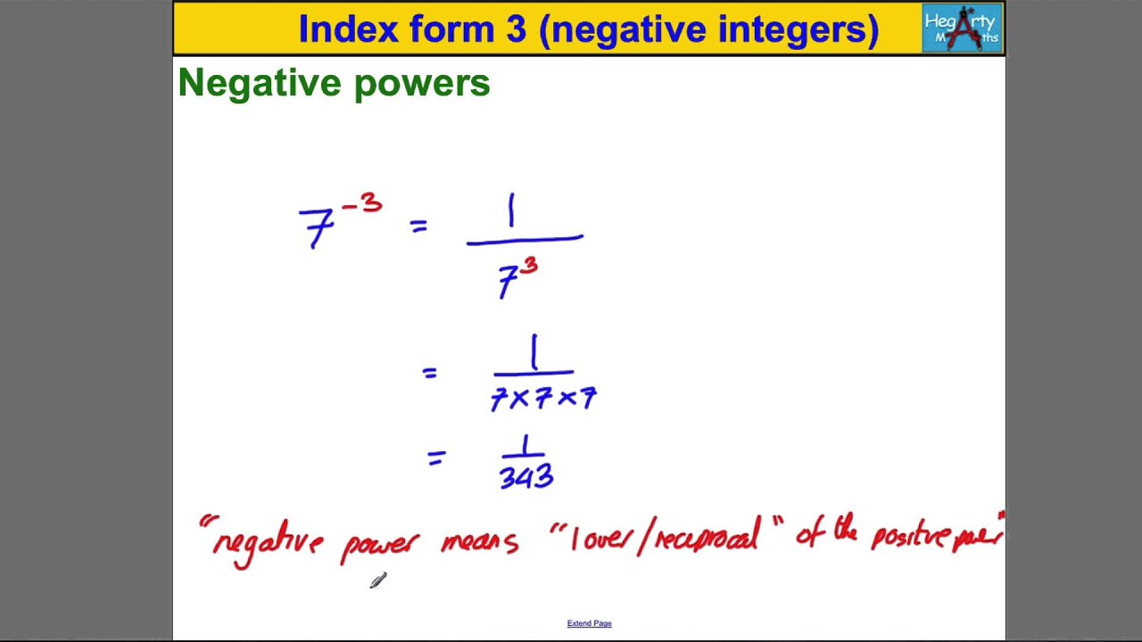 Index form 3 (powers of negative integers) - YouTube