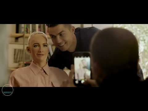 "Cristiano Ronaldo talking to Sophia (robot woman)  ""funny"""