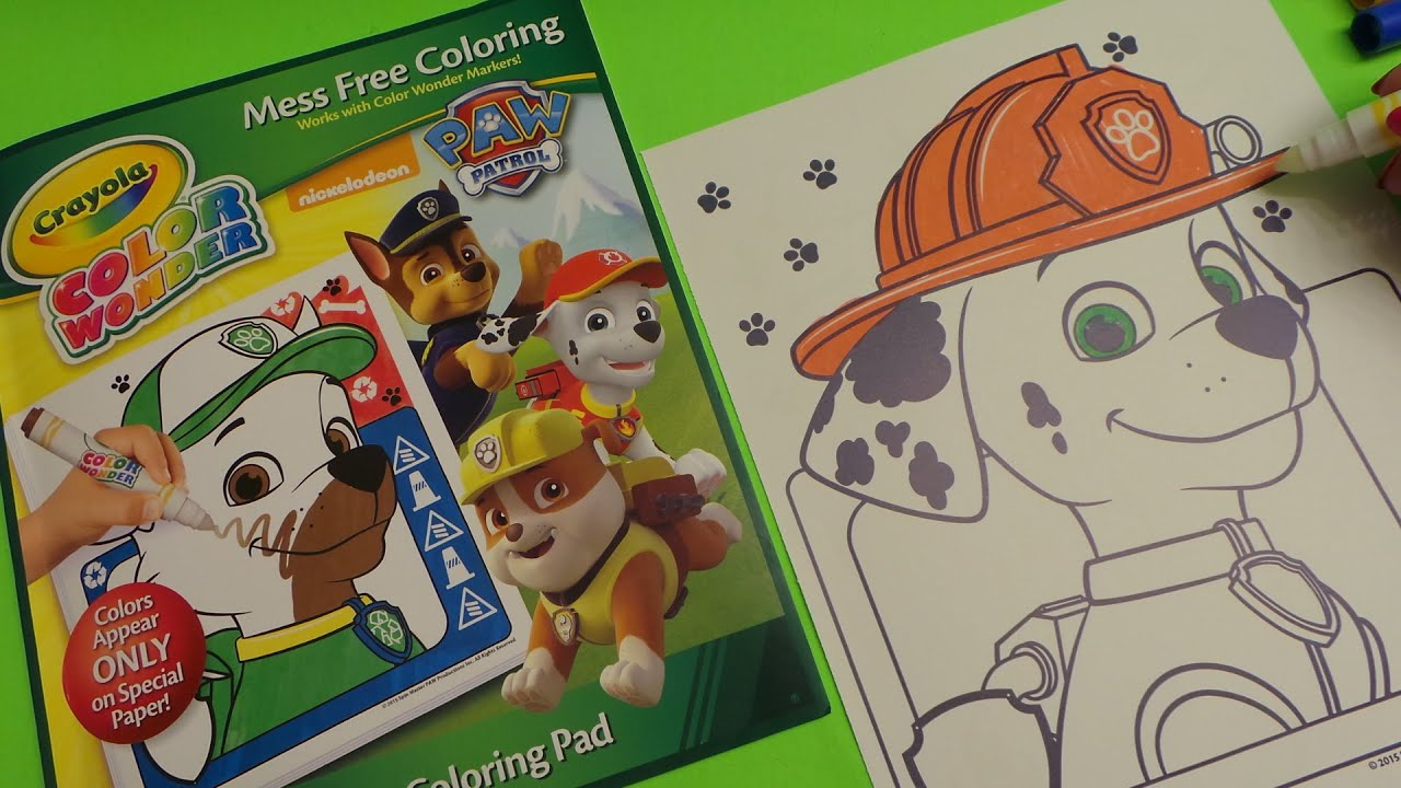 HOW TO BASIC - Colour Paw Patrol MARSHALL Crayola Color Wonder ...