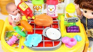 Baby doll Kitchen food cooking toys 콩순이 바베큐 주방놀이 요리놀이 만들기 카트 장난감