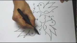 8x7 Dot Rangoli Design - Birds Flying Around a Flower