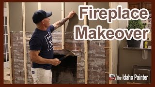 Turn an old rock or brick fireplace into a modern weathered wood masterpiece. Simple fireplace makeover in 2 days. Home