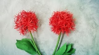 How To Make Haemanthus Multiflorus | Blood Lily Flower From Crepe Paper - Craft Tutorial
