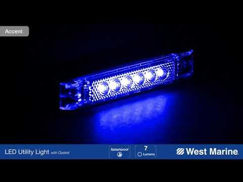 "WEST MARINE 4"" LED Utility Strip Light with Gasket, Blue"