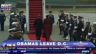 OBAMA'S FINAL WAVE: President Departs Joint Base Andrews for CA  After Trump Inauguration (FNN)