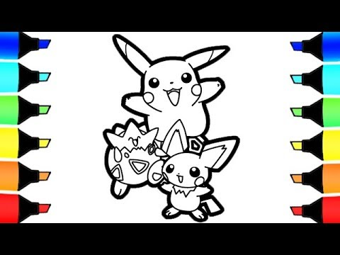 Pikachu Pichu and Togapi Pokemon Coloring pages I Fun ...