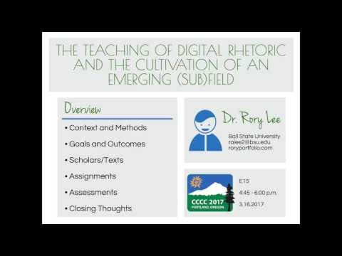 4C17 - The Teaching of Digital Rhetoric and the Cultivation of an Emerging (Sub)Field