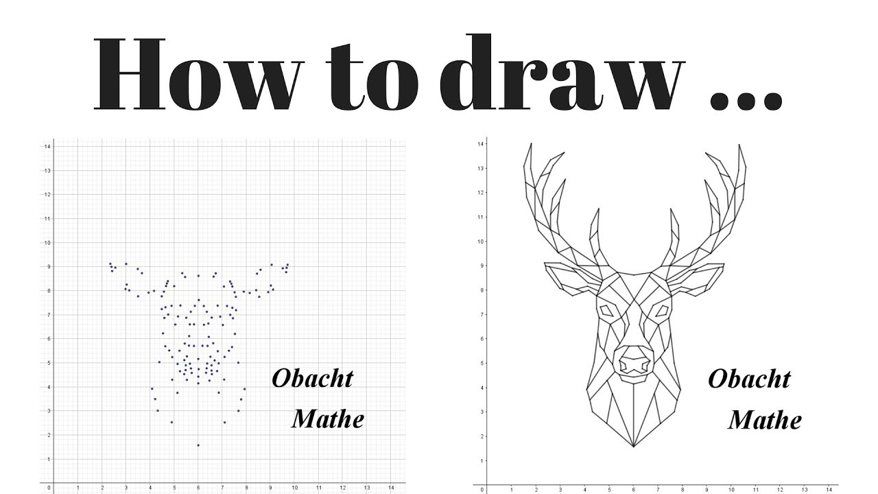 How to draw a deer head geometric step by step paint by numbers