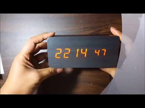 e07010ee0d5 Relógio Digital Led Madeira Despertador Termômetro Cabeceira Preto ...