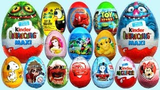Repeat youtube video 20 Surprise Eggs Kinder Surprise MAXI Mickey Mouse Cars 2 Minnie Mouse Spongebob