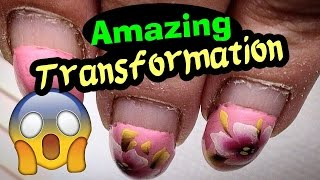AMAZING TRANSFORMATION: Russian Style Hardware Manicure, Gel Nails Infill & Vibrant Poppies Flowers