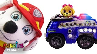 Learn Colors Videos For Children Paw Patrol Marshall & Skye Police and Fire Truck Preschool