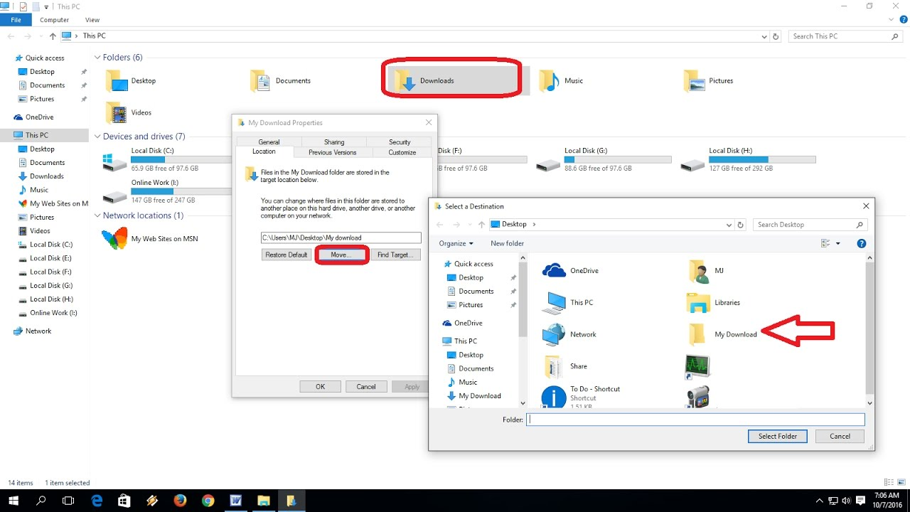 How to Change Download Location in Windows 10/8 1/7
