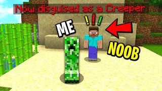 Trolling a minecraft noob with a disguise plugin...