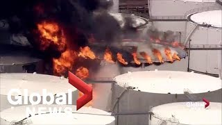 Crews battle large fire at Texas chemical plant