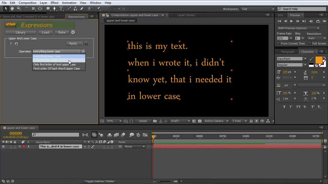 After Effects Tutorial: How to convert Text to upper case or lower case  with iExpressions