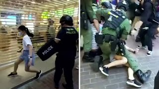 video: Hong Kong police criticised over rough arrest of 12-year-old girl during protests