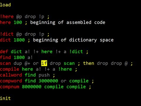 Demo: colorForth Editor & Assembler