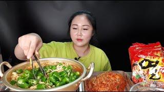SUB) 청양고추탕에 라면 사리 먹기 (열라면 2개 청양고추 20개 조풍연실비김치) 먹방  spicymukbang