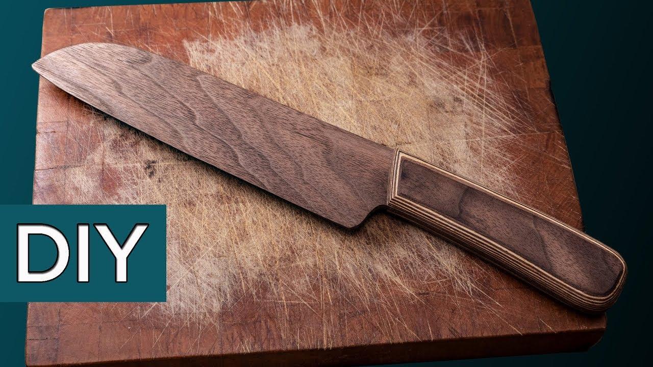 Самый острый нож из шпона. Сантоку, без грамма металла.  #Стройхак