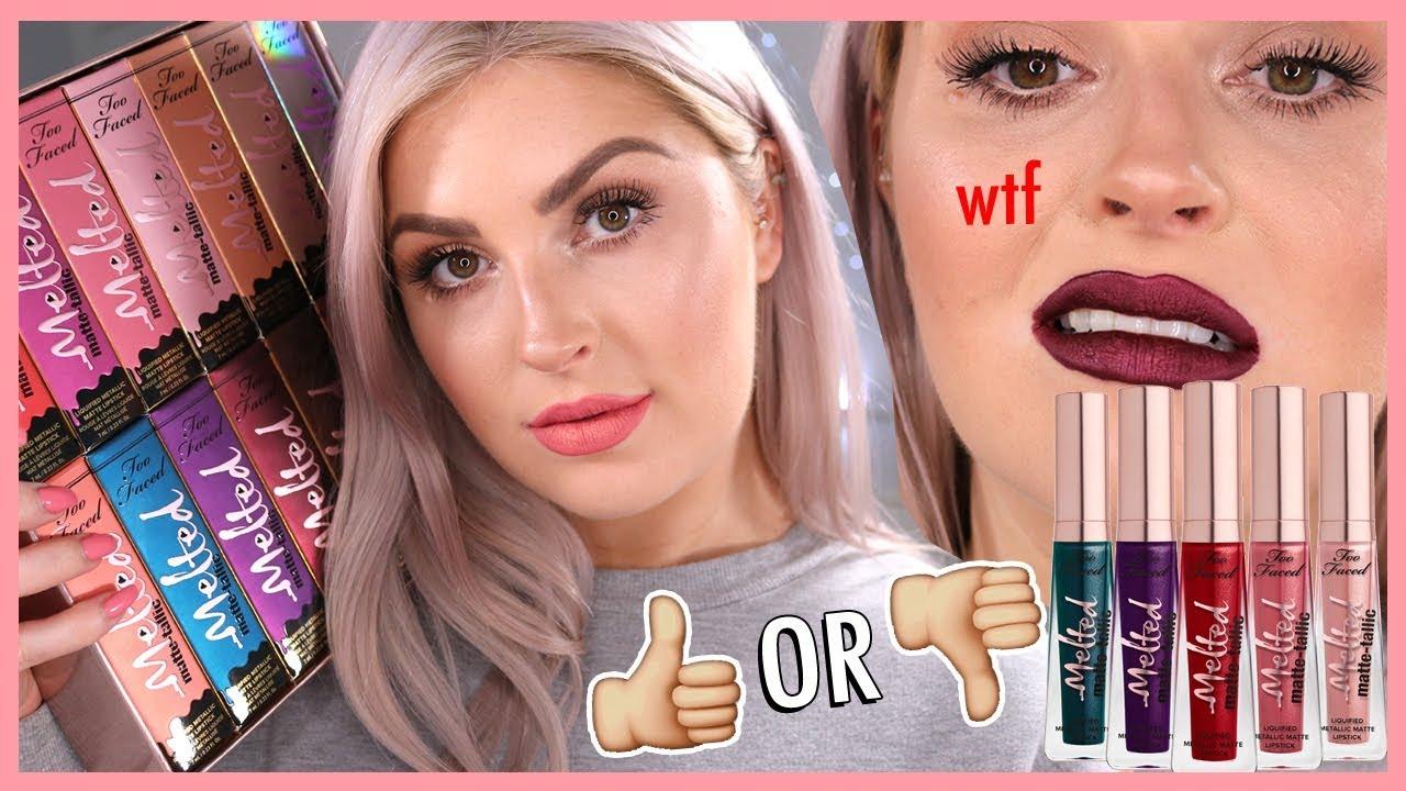 New Too Faced Melted Matte Tallic Lipsticks Lip Swatch Full