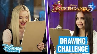 Descendants 3 | Speed Drawing Challenge With Dove Cameron & Sofia Carson ✨| Disney Channel UK