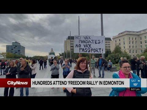 Demonstrators in Edmonton oppose province's COVID-19 mandates
