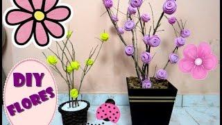 Como fazer arranjo de flores com galhos secos e EVA