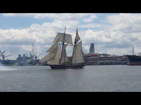 Pride of Baltimore II homecoming sail into Baltimore Harbor July 1st, 2017