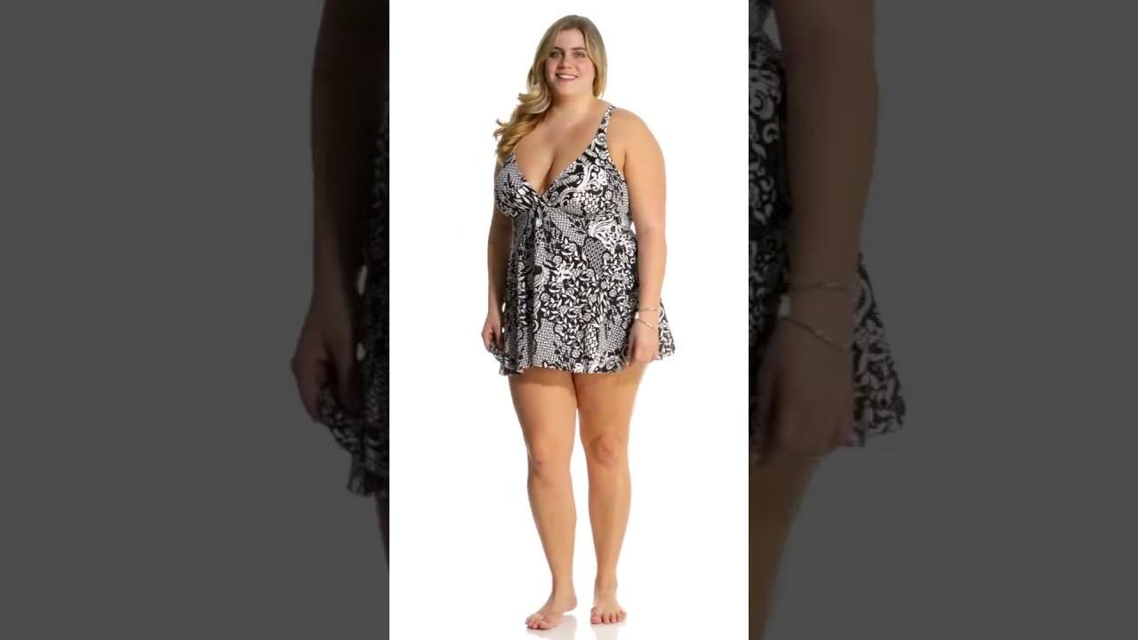 7d83457ef7 Shape Solver Plus Size Mix It Up Fly Away Swimdress