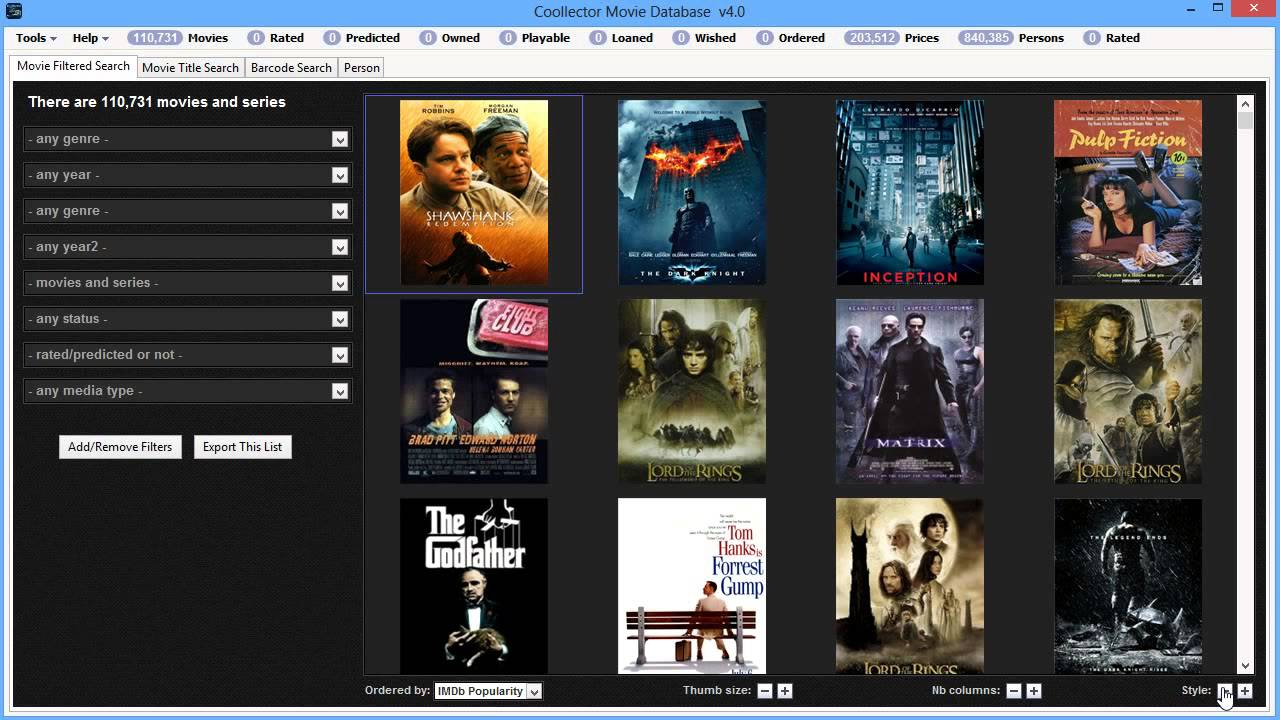 Coollector Movie database - Adjustable Layout - YouTube