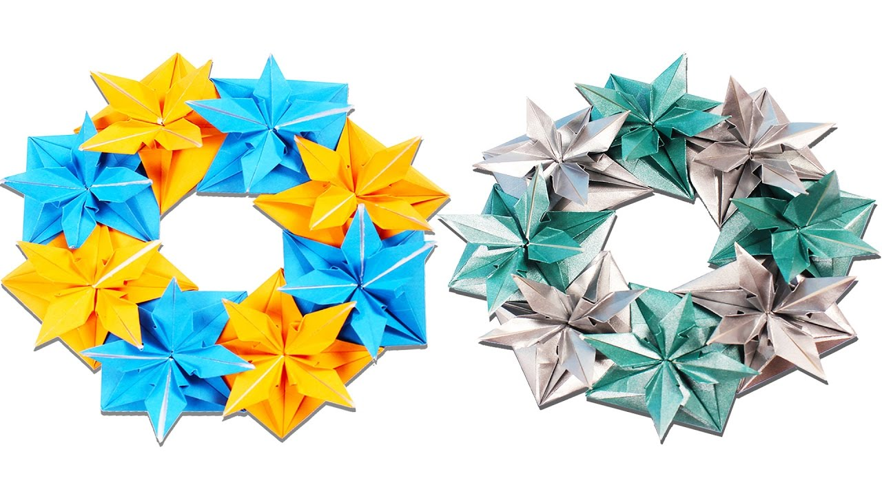 Christmas origami wreath - 3d Origami Wreath Learn How To Make Origami Wreath Christmas Origami Tutorials Art And Craft