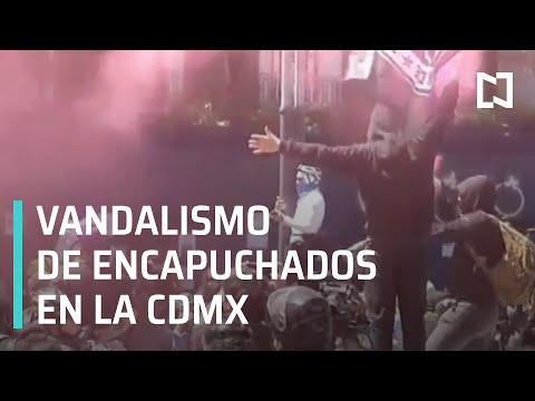 Continúan las protestas y actos vandálicos por parte de encapuchados en calles de la CDMX