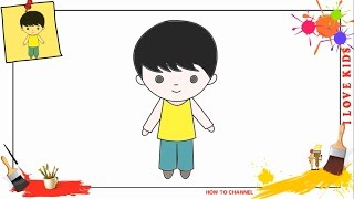 boy drawing draw easy simple step drawings paintingvalley