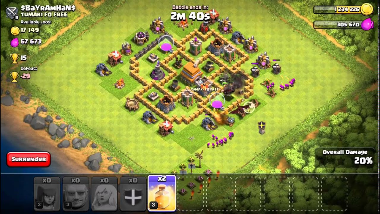 Clash of clans best attack strategy townhall level 6 coc th6