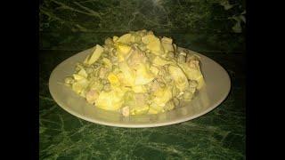 Салат из ветчины/огурца и гороха! Салат за считанные минуты! Быстрый салат/вкусный салат