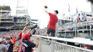 Catching baseballs at the 2018 Home Run Derby at Nationals Park