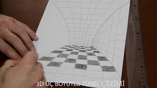 3D Tünel Çizimi - Üç Boyutlu Tünel Çizim - How to draw 3D tunnel drawing