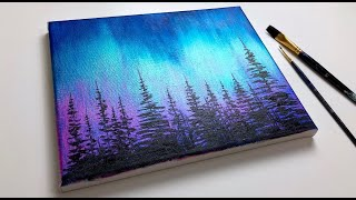Acrylic Painting For Beginners | Northern Lights Forest | Aurora Acrylic Tutorial
