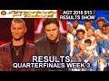 RESULTS QUARTERFINALS 3 DUNKIN SAVE Daniel Emmet Future Kingz Aaron Crow America's Got Talent 2018
