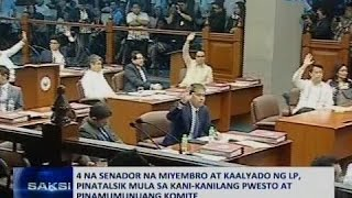 Saksi: 4 na Senador na miyembro at kaalyado ng LP, pinatalsik mula sa kani-kanilang pwesto