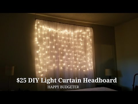 DIY Light Curtain Headboard