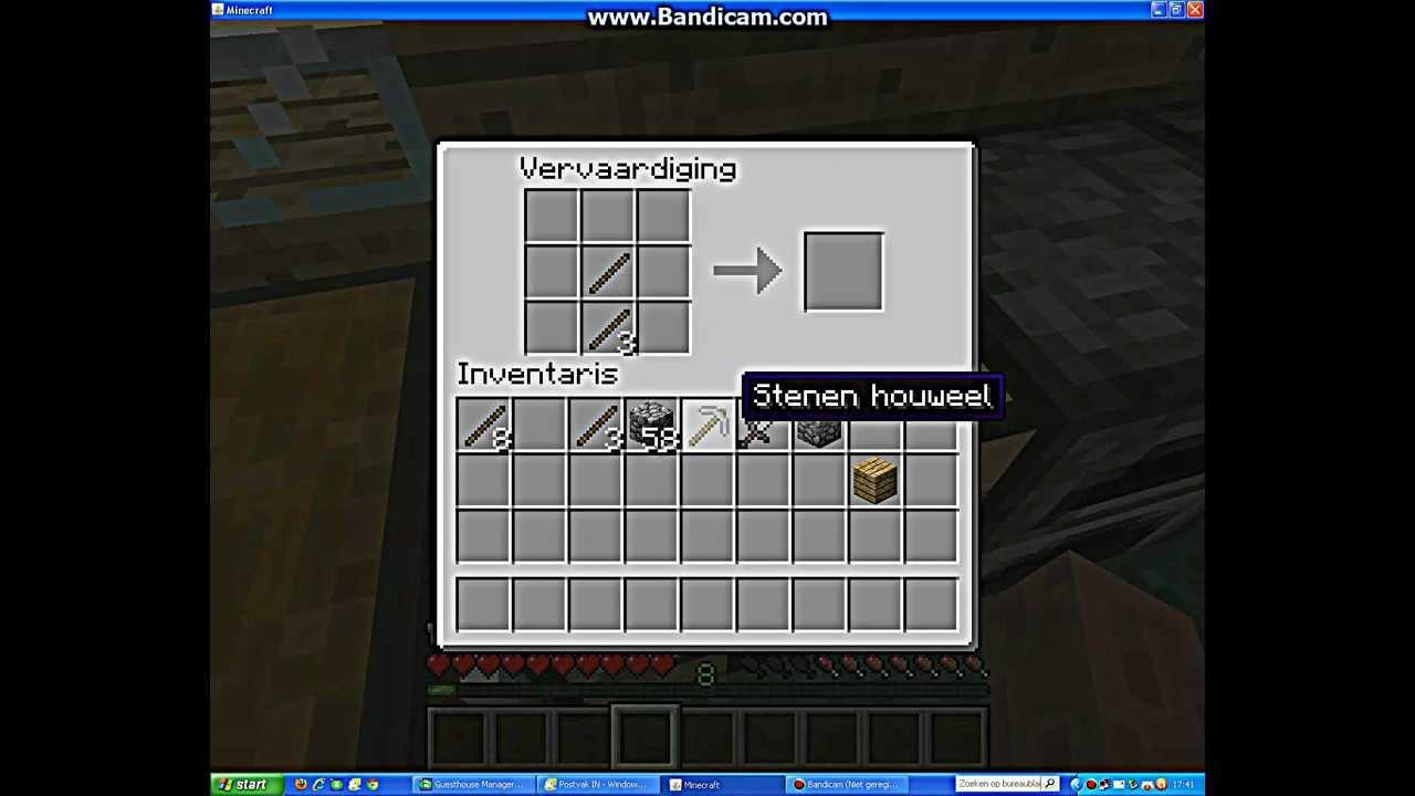 Minecraft hoe maak je en stenen houweel schoffel schep zwaard youtube - Hoe maak je een woonkamer ...