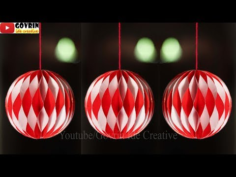 Wall Decor Ideas - Hiasan 17 Agustus dari Kertas | Lampion Honeycomb Merah Putih