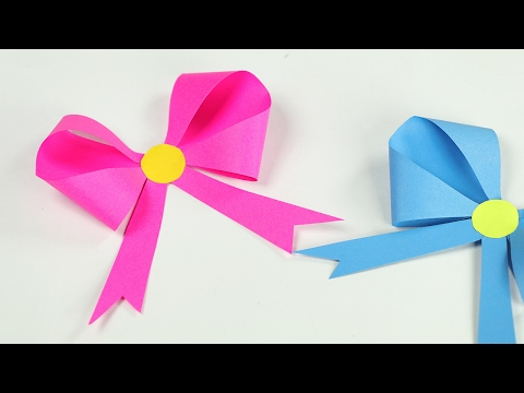 How to Make Origami Bow/Paper Ribbon - DIY Origami Tutorial