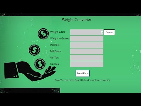 How To Make Weight Converter In JavaScript , HTML And CSS